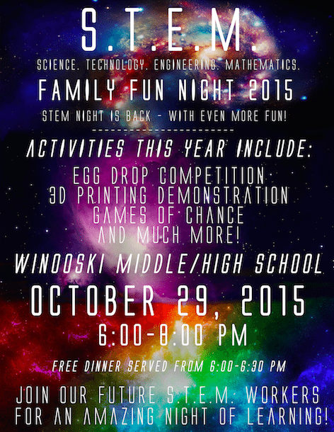 STEM Family fun night poster. Read text description above