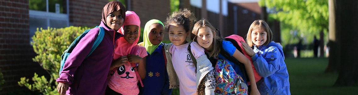 Smiling kids at school image